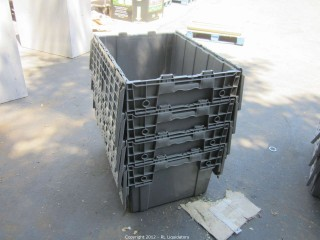 4-Gray Utility Bins with lids
