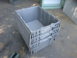 3-Gray Utiity bins with lids