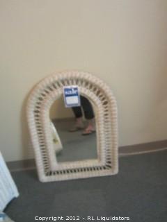 Wall Rattan Mirror  (frt bthrm)