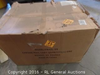 Chrome Mail cart 2 Trays  Package Damaged New In Box