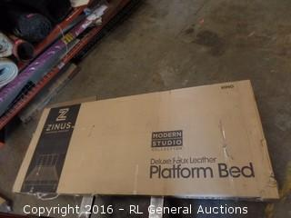Delixe Faux Leather Platform Bed King Package Damaged New in box