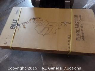 "Floor Lectern Mahogany with 3"" Casters Package Damaged New In Box"
