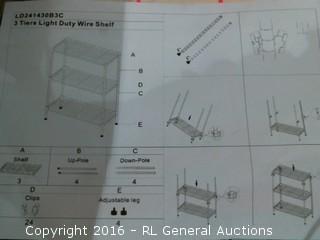 3 Tier Light Duty Wire Shelf