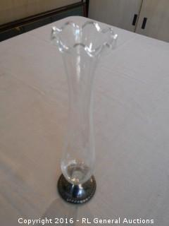 "Duchin Sterling Silver Weighted Bud Vase - Etched w/ Ruffle Top  9.75"" T"