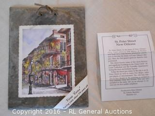 """1800's Roofing Plate from Vieux Carre' - St. Peters St.  New Orleans w/ Certificate  8"""" T X 6"""" W"""