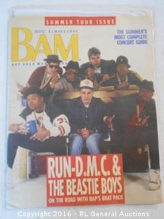 "1987 BAM Bay Area Music Magazine Featuring Run DMC & The Beastie Boys - Great Music & Movie Adds  13.5"" T X 10.5"" W"