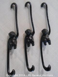 "3 Antique Wrought Iron Monkey Hangers / Hooks 8"" Tall"