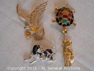 Nice Brooch Lot - Animals - Rhinestones & Enameled