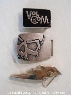 "Belt Buckle Lot - VolCom , Skull, Lightning Bolt ""Back In Black"" by Silver Star"