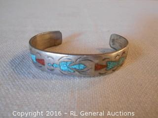 Antique Navajo Styled Sterling Silver Bracelet w/ Stone Inlay - Nice Piece