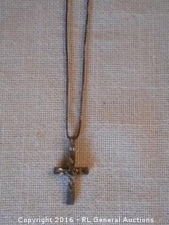 Sterling Silver 925 Necklace w/ Cross Pendant w/ Rose
