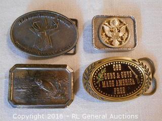 4 Vintage Belt Buckles - God Guns & Guts Made America Free ++