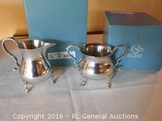 New Lenox Kirk Stieff Collection Sugar (CW83) & Creamer (CW84) - High End Pewter