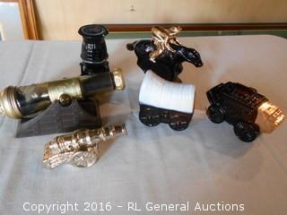 Vintage Avon Collectors Bottles - Cannons, Western, Pot Belly Stove +