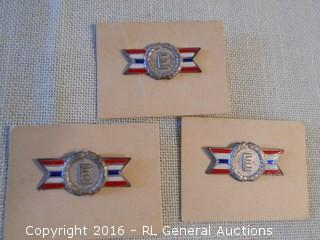 3 US Military Army/Navy Production Award Medals - Sterling Silver