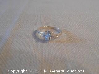 Sterling Silver 925 Ring w/ Blue Topaz Stone & Clear Accent Stones