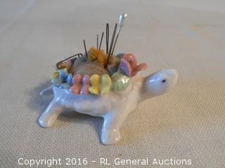 Antique Ceramic Sewing Pin Cushion w/ Needles