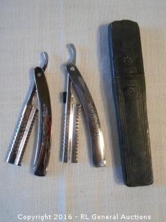 Vintage Hair Shaper Straight Razors & 1 Case