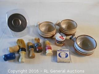 Vintage Shaving Mugs, Brushes, Soap, Wax & Lidded Jar