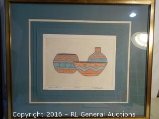 """Original Artwork Signed & #'d 227/750 """"Mesa Jars I""""  25.5"""" W X 21.5"""" T"""