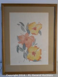 """Large Framed Signed Print #'d 231/750  """"Hi Biscus"""" by Moran"""