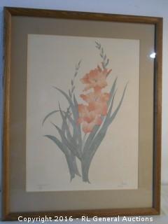 """Large Framed Signed Print #'d 124/750  """"Gladiola"""" by Moran"""