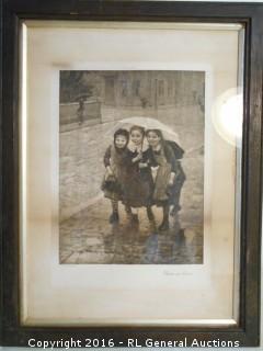 """Antique Artwork """"Under One Cover"""" C. Von Bergen Print  Vienna, London  13"""" W X 17"""" T"""