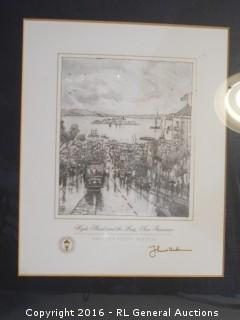 "Thomas Kinkade Artist's Study Sketch Signed - ""Hyde Street & The Bay, San Francisco""  14"" W X 15.5"" T"