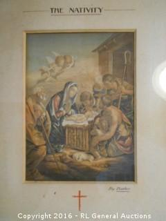 "Antique Print ""The Nativity"" by Baiter  9"" W X 11.25"" T"
