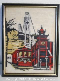 "Vintage Needlepoint Artwork - San Francisco Cable Car / Golden Gate Bridge  9.25"" W X 11.75"" T"