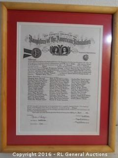 "The National Society of the Daughters of the American Revolution 12"" W X 15"" T"