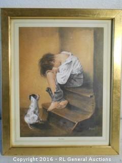 """Vintage Print Artwork """"Poor Joey"""" by Evans  9"""" W X 11.25"""" T"""