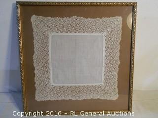 "Hand Made Doily Framed  14.5"" Square"