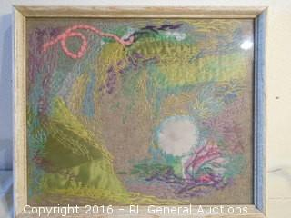 "1960's Needlepoint Artwork by Mabel Gould Fitz  12.75"" W X 10.75"" T"