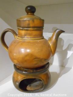 Solar Stoneware Teapot Set w/ Base - Made in West Germany