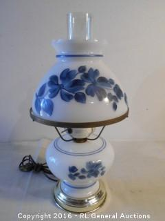 "Hand Painted Hurricane Style Electric Lamp 16"" Tall"