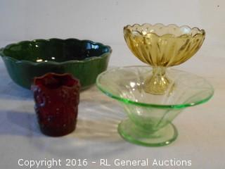 "Antique Glass Lot & Covina Pottery California 7.5"" Dia"