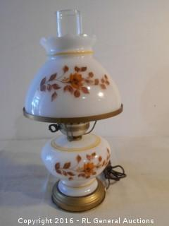 "Hand Painted Vintage Hurricane Style Electric Lamp 16"" Tall"