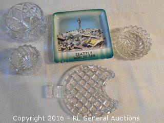 Seattle's Word Fair Hand Painted Ashtray & Pressed Glass Lot
