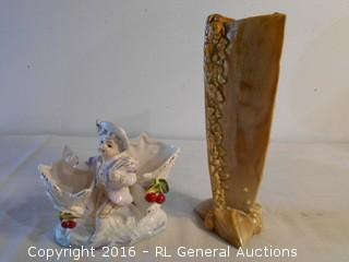 "Vintage Pottery & Ceramic Vases 11"" T & 6.5"" T"