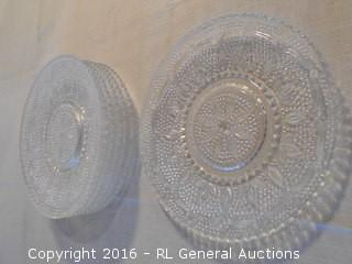 "Set of 7 Pressed Glass Plates 8"" Dia."