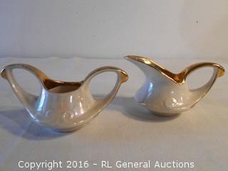 Vintage Creamer & Sugar Set  Pearlescent w/ Gold Leaf Trim