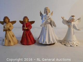 "Vintage Angel Music Box 8"" Tall Japan Made, Blume Ceramic Angel (Japan) 6"" , 2 Plastic Angels w/ Lights 5.75"" Tall"