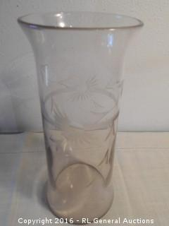 "Large Etched Flower Vase 5"" Dia. X 12"" Tall"