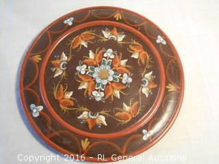 "Hand Painted 14"" Dia. Vintage Bread Plate"