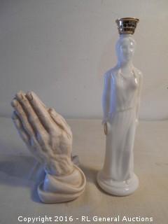 "1989 Universal Statuary Praying Hands 7"" Tall & Vintage Avon Bottle 11"" T"