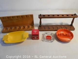 Vintage Tobacco Pipe Holders, Vintage Tin & Ashtrays