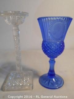 """Vintage Cut Glass Candlestick 8.5"""" T & Blue Avon Goblet w/ Washington Picture 8"""" T"""