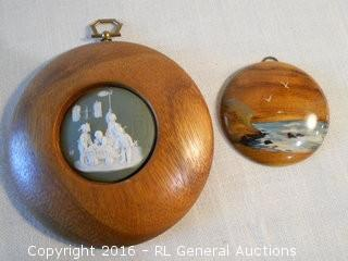 "Hand Painted Oregon Myrtlewood 3"" Dia. Wall Hanger & Ceramic/Wood Wall Hanger 5.5"" Dia."
