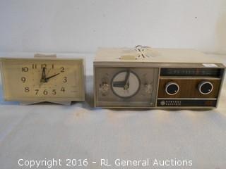 Mid Century GE Clock Radio & GE Clock